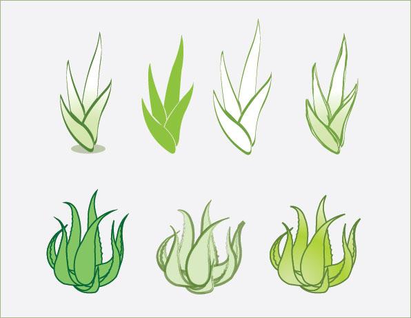 Aloe-vector-material- シンプルなアロエ(多肉植物)の無料ベクターイラスト素材