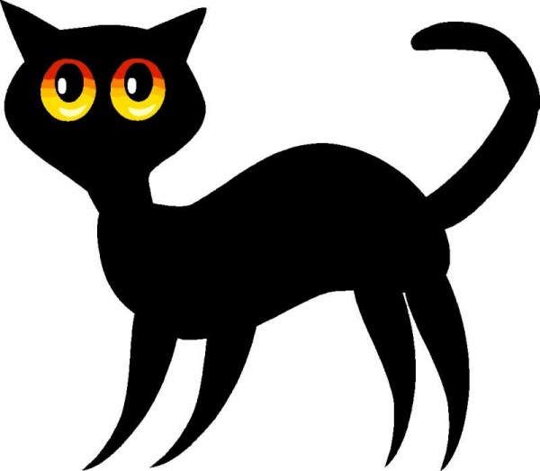 Animal-Clip-Art-cat-040-600x523 無料ベクタークリップアート。クールな黒猫のイラスト素材