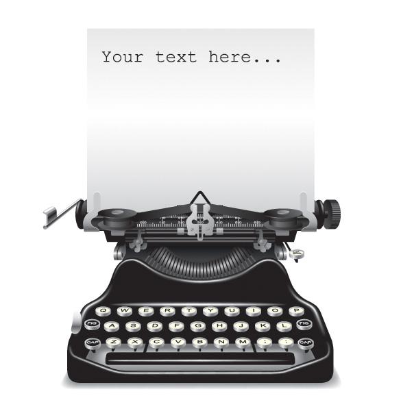 Antique-Vector-Typewriter-with-Paper アンティークなタイプライターの無料ベクターイラスト素材