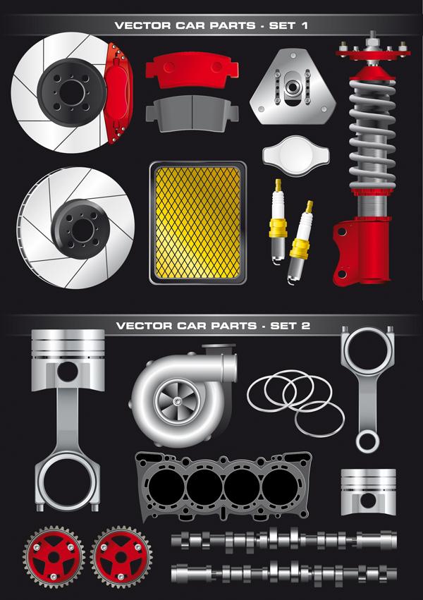 Auto-parts-vector-material2 スポーツカーのパーツをリアルに描いたイラスト素材