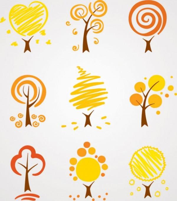 Autumn-Tree-Vector-Illustrations-600x681 抽象的な秋の木々。無料ベクタークリップアート素材