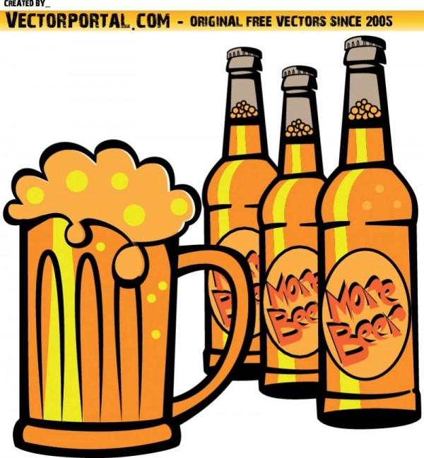 BOTTLES-OF-BEER-VECTOR-IMAGE-600x649 無料ベクタークリップアート。瓶ビールとジョッキ生のイラスト素材