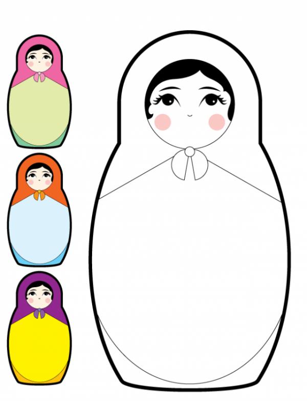 Baboesjka-Matryoshka-Doll-Vector-600x782 ロシアのコケシ。マトリョーシカのかわいいベクタークリップアート素材