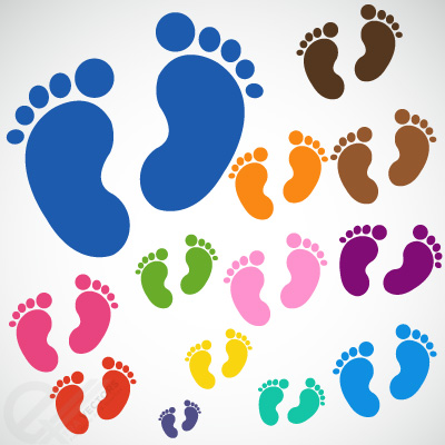 Babyfeet キュートな赤ちゃんの足跡。フリーベクターシルエット素材