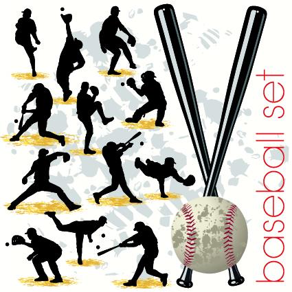 Baseball-silhouettes-vector-set 12パターンのベースボール無料ベクターシルエット素材集