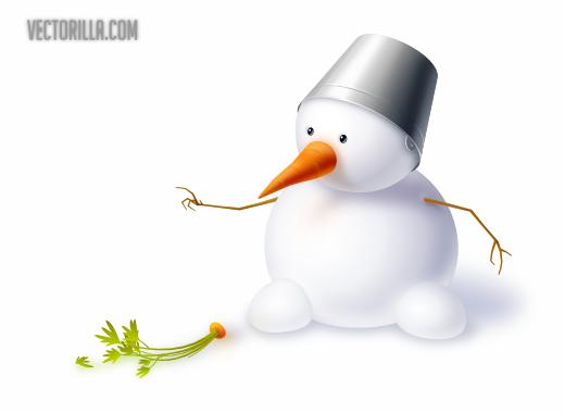 ふんわりかわいい雪だるまの無料ベクターイラスト素材 All Free Clipart