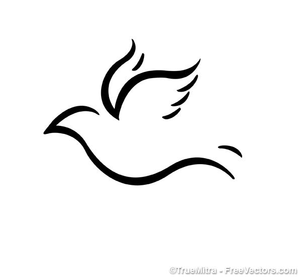 Bird-Shape1 幸せを運ぶシンプルなハト。無料ベクターシルエット素材