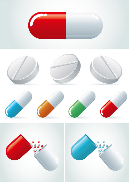 Capsules-vecto カプセル&錠剤。お薬の無料ベクターイラスト素材