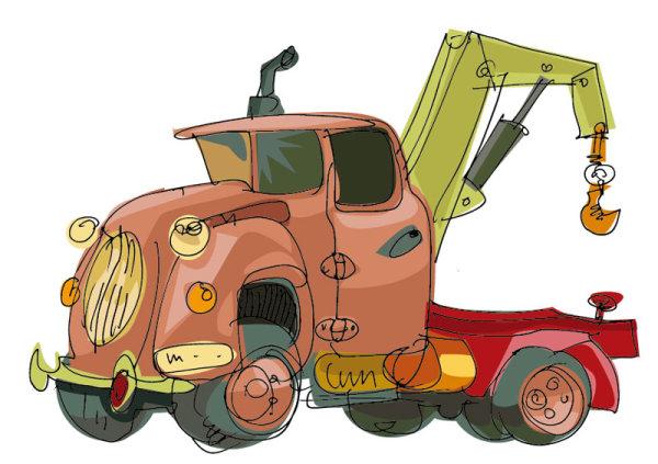 Car-truck-vector-4 手書きで可愛い古いレッカー車。無料ベクターイラスト素材