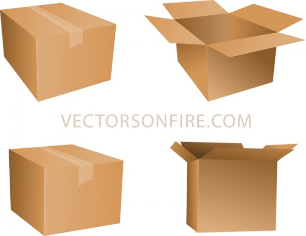 Cardboard-Box-Icons-4-Icons-600x462 4種類の段ボール箱。無料ベクタークリップアート素材