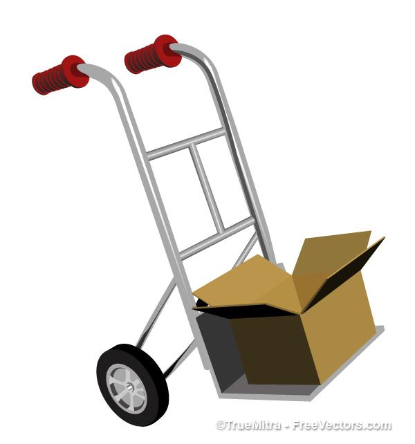 Cargo-Trolley 二輪台車(丁稚)の無料ベクターイラスト素材
