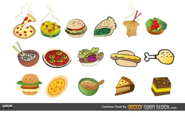 Cartoon-Foods-600x380 おいしそう!イタリアンやファストフード、スイーツなどのベクタークリップアート素材