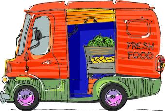 Cartoon-car-4 手書きで可愛い移動する八百屋さん04 無料ベクターイラスト素材