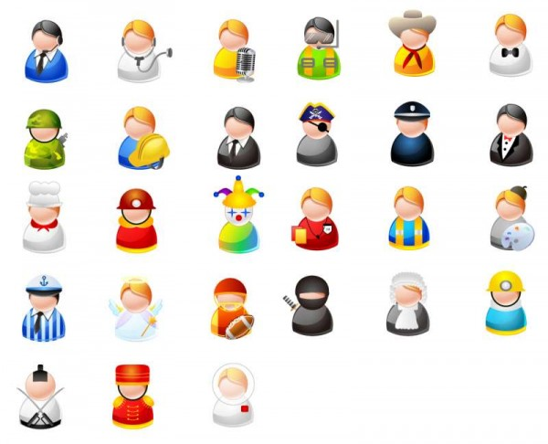 Cartoon-character-icons-600x486 27種類のキャラクター!アバター・アイコン・クリップアート素材