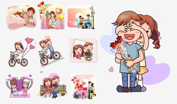 Cartoon-couple-1-600x351 ラブラブカップルの日常01。無料ベクタークリップアート素材