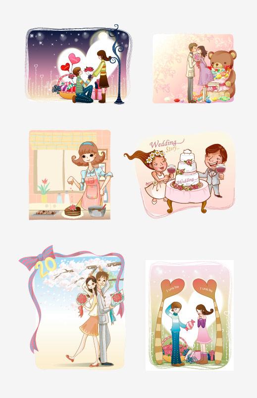 Cartoon-couple-2 ラブラブカップルの日常02。無料ベクタークリップアート素材