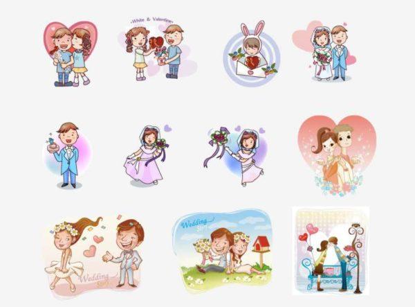 Cartoon-couple-3-600x443 ラブラブカップルの日常03。無料ベクタークリップアート素材