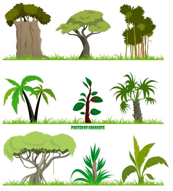 Cartoon-forest-tree-eps-600x664 熱帯ジャングルを連想させる大木のクリップアート素材