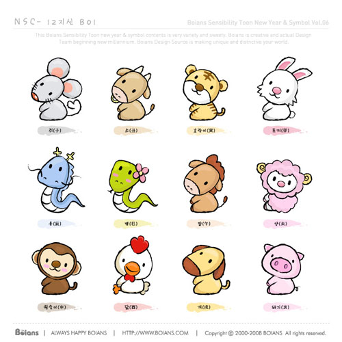 Cartoon-vector-zodiac-Vector-cartoon かわいいキャラクタータイプの干支。無料ベクターアイコン素材