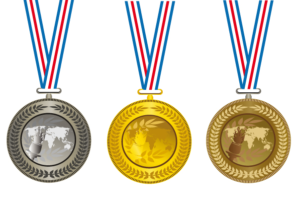 Champion-Cup-And-medals-design-vector-set-01 入賞メダル(金・銀・銅)無料ベクターイラスト素材