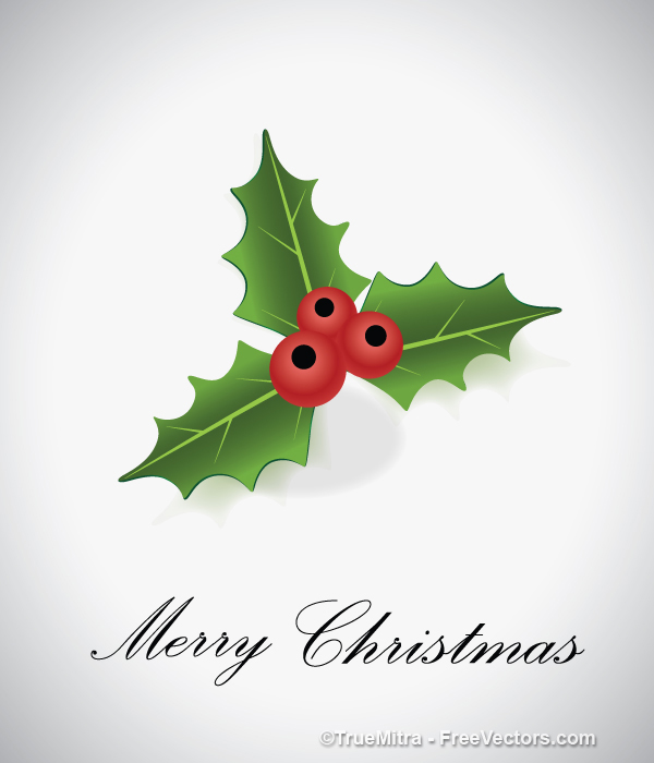Christmas-Holly-Leaf クリスマスカードにワンポイント!無料ベクタークリップアート素材