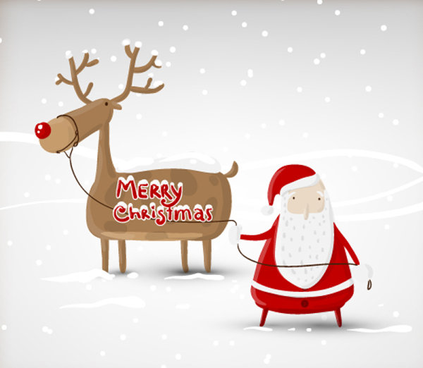 Christmas-Illustration-vector-1 キュートなサンタとトナカイ。無料ベクターイラスト素材