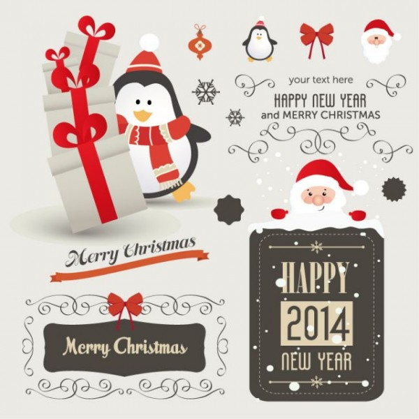 Christmas-Penguin-Santa-Claus-Vector-600x600 サンタとペンギンのクリスマス&ハッピーニューイヤー無料ベクターイラスト素材