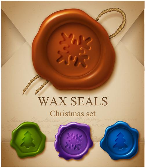Christmas-Wax-Seal-elements-4 Xmasデザインのアクセントに!シーリングワックスの無料ベクターイラスト素材