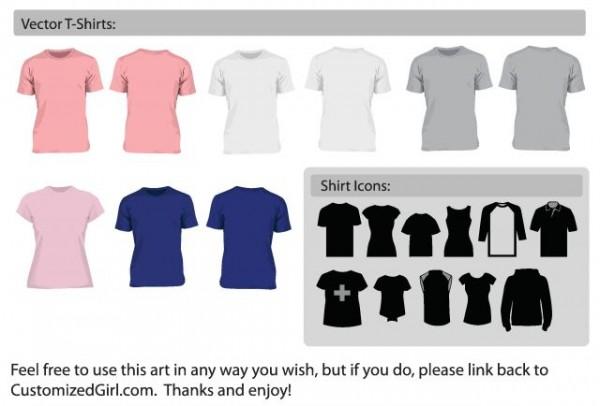 ClassicTeeShirts-600x406 Tシャツなどデザイン用モックアップ。無料のベクタークリップアート素材