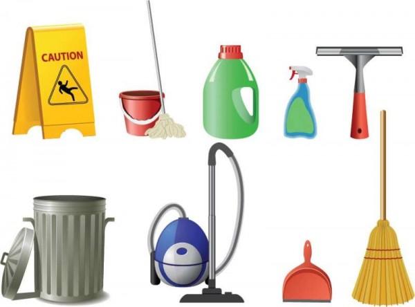 Cleaning-tools-600x444 清掃業者の必需品!お掃除アイテムクリップアート・イラスト素材
