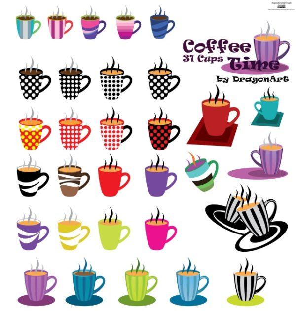 Coffee-Time-31-Cups-Vector-Set-600x630 イタリアンテイスト溢れるポップなマグカップ。無料ベクタークリップアート素材