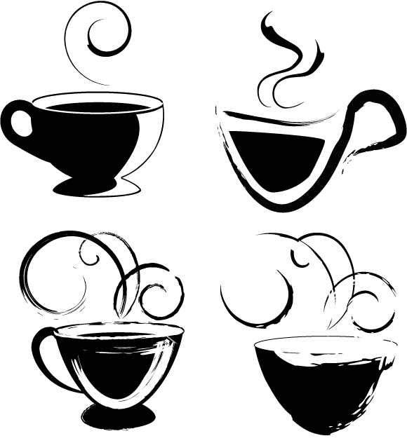 Coffee-cups-for-your-usage-Free-Vector-Art 無料ベクターシルエット素材。ラフなタッチのコーヒーカップ4個
