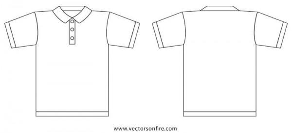 Collar-T-Shirt-Template-600x274 プレーンなポロシャツ裏表の無料ベクタークリップアート素材