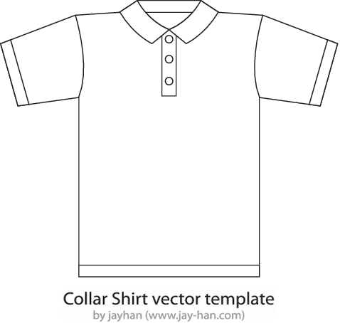 Collar-T-Shirt-Template-thumb プレーンなポロシャツ裏表の無料ベクタークリップアート素材