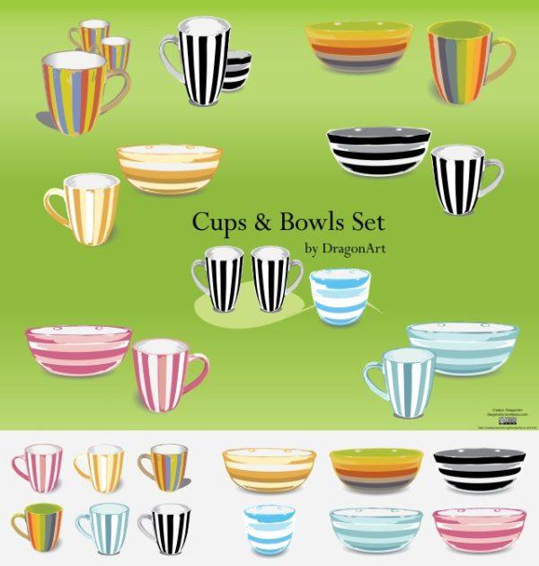 Cups-and-Bowl-150dpi-by-DragonArt-600x630 ストライプが爽やか!カップとボールのベクタークリップアート素材