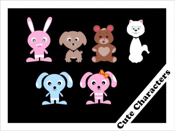 Cute-Characters-Vector-600x450 とってもキュートな6種類のアニマルキャラクター。無料ベクタークリップアート素材