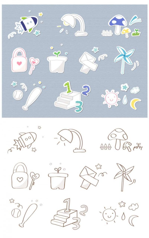 Cute-icon-series-vector-material-6-600x960 超かわいい!いろいろ混ざったクリップアート素材パック