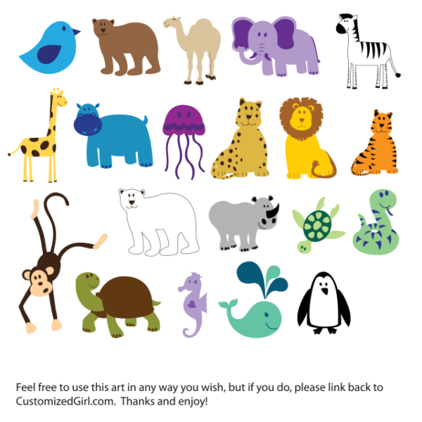 CuteColorfulAnimals-600x600 かわいい動物の無料ベクタークリップアート素材(20種類)