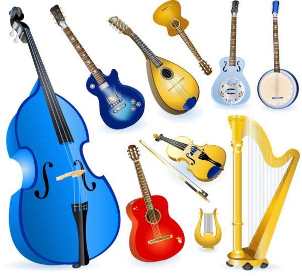 Different-String-Instruments-elements-vector-set-600x549 無料ベクタークリップアート。アコースティックな弦楽器(チェロ・バイオリン・マンドリン・ハープなど)