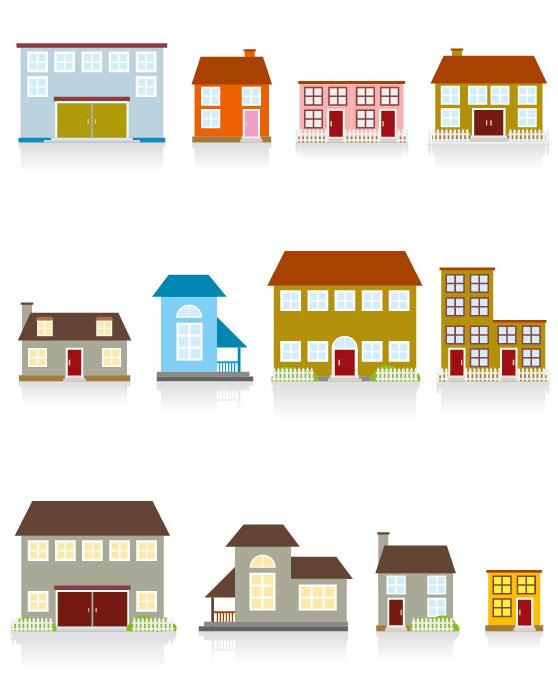 Different-cartoon-Houses-elements-vector-01 いろいろな家がマンガチックに描かれた無料ベクターイラスト素材01