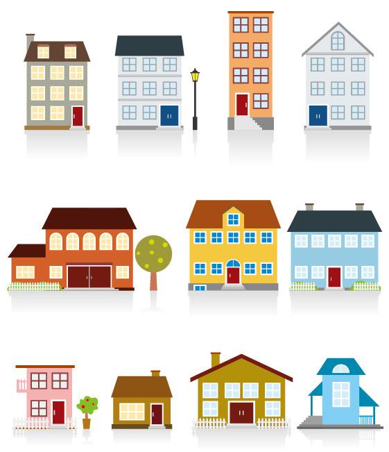 Different-cartoon-Houses-elements-vector-02 いろいろな家がマンガチックに描かれた無料ベクターイラスト素材02