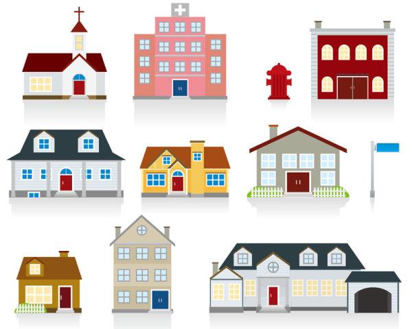 Different-cartoon-Houses-elements-vector-03 いろいろな家がマンガチックに描かれた無料ベクターイラスト素材03