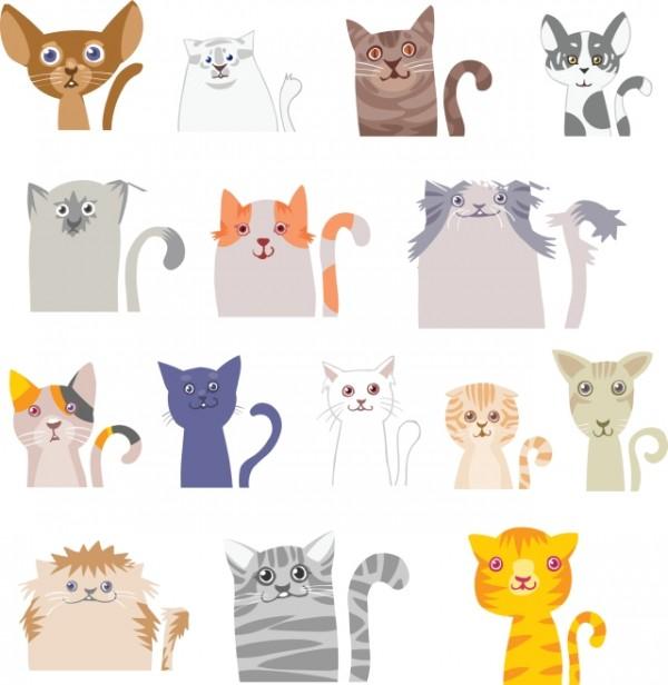 Different-funny-Cat-desgin-vector-600x616 アニメタッチのかわいいネコたち。無料ベクタークリップアート素材
