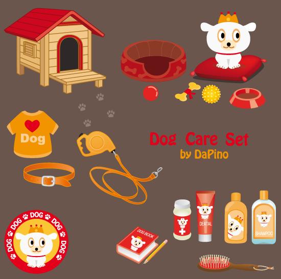 Dog_Care ペット(犬)の飼育アイテム。無料ベクターイラスト素材
