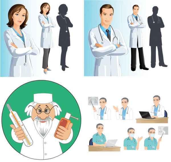 Dr-Vector 4種類のキャラクターで表現された医者(ドクター)のベクタークリップアート素材