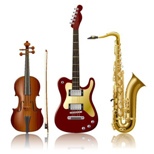 Electric-guitar-violin-Sachs-tidal-current-design-element-600x600 ハイクオリティーな楽器(バイオリン、エレキ、サックス)の無料ベクタークリップアート素材