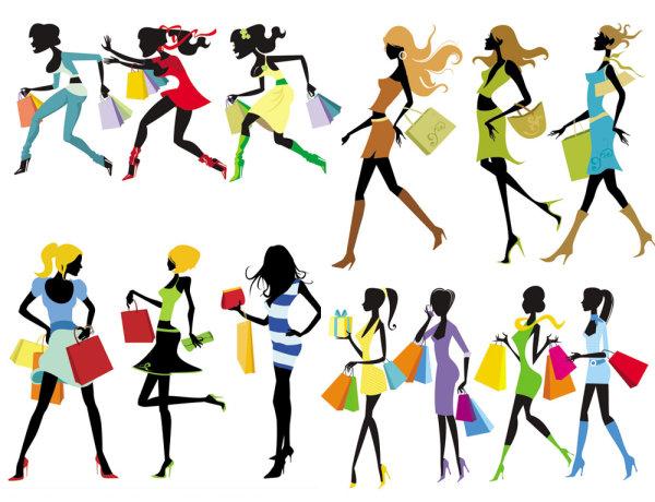 Fashion-Shopping-Girl-Vector ショッピングを楽しむファッショナブルな13種類の女性のベクターイラスト素材