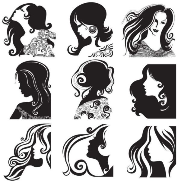 Female-head-pattern-vector-material-600x600 スタイリッシュな女性の顔・ヘアースタイルを描いた無料ベクターシルエット素材