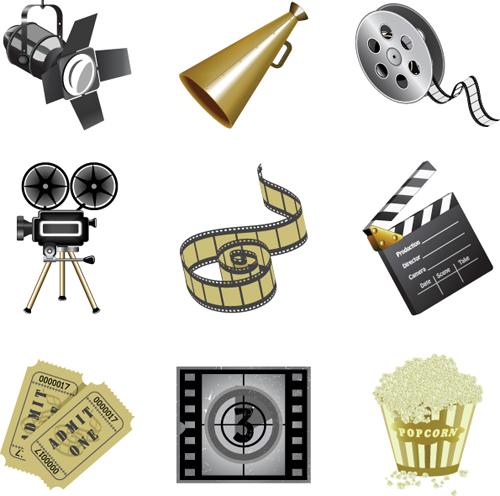 Film-and-movie-5 フィルムやカメラなど映画に関連のある無料ベクタークリップアート素材