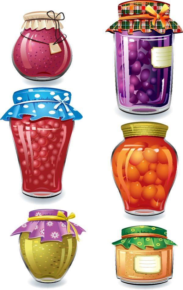 Fine-Canned-Fruit-2-600x950 おいしそうなフルーツの瓶詰めの無料ベクタークリップアート6種類。